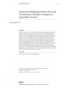 Numerical Modeling of Water Flow and Contaminant (Nitrates
