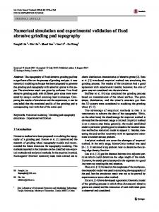 Numerical simulation and experimental validation of fixed abrasive ...