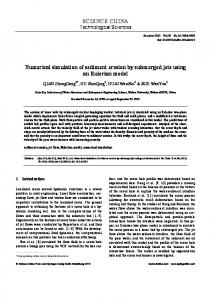 Numerical simulation of sediment erosion by submerged jets using an ...