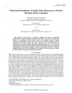 Numerical Simulations of Single Flow Element in a Nuclear Thermal ...