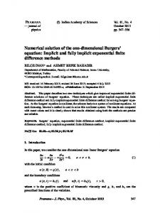 Numerical solution of the one-dimensional Burgers' equation: Implicit ...