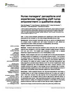 Nurse managers' perceptions and experiences