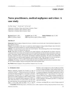 Nurse practitioners, medical negligence and crime: A ... - Sciedu Press
