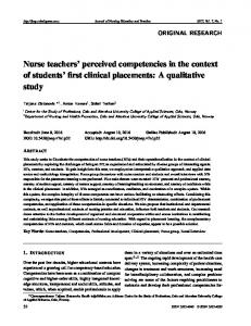 Nurse teachers' perceived competencies in the context ... - Sciedu Press