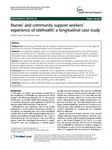 Nurses' and community support workers' experience of ... - Springer Link