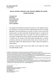 Nurses and the Collective Care Practices Within the Family ... - SciELO