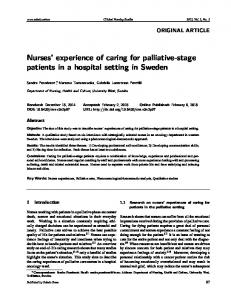 Nurses' experience of caring for palliative-stage ... - Sciedu Press