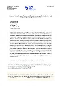 Nurses' knowledge of universal health coverage