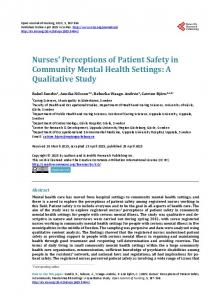 Nurses' Perceptions of Patient Safety in Community Mental Health