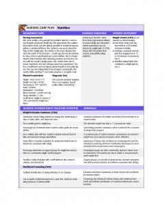 Nursing Care Plan; Nutrition (PDF)