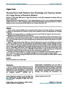 Nursing Home Staff Palliative Care Knowledge and Practices: Results ...