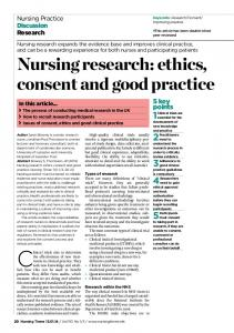 Nursing research: ethics, consent and good practice - Nursing Times