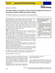 Nursing students' perceptions of their clinical