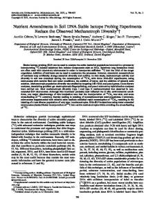Nutrient Amendments in Soil DNA Stable Isotope