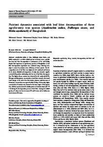 Nutrient dynamics associated with leaf litter decomposition of three ...