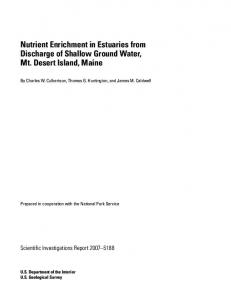 Nutrient Enrichment in Estuaries from Discharge of Shallow Ground ...