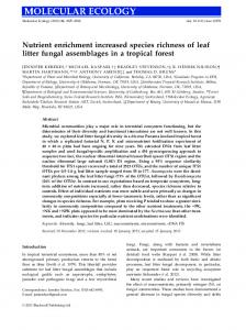 Nutrient enrichment increased species richness of leaf litter fungal