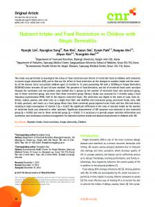 Nutrient Intake and Food Restriction in Children with ... - BioMedSearch