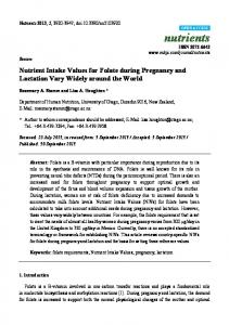 Nutrient Intake Values for Folate during Pregnancy ... - BioMedSearch