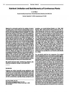 Nutrient Limitation and Stoichiometry of Carnivorous Plants