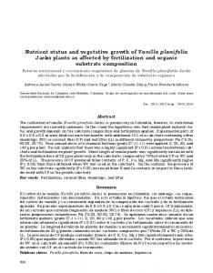 Nutrient status and vegetative growth of Vanilla ... - SciELO Colombia