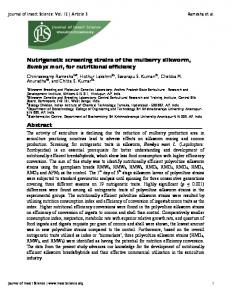 Nutrigenetic screening strains of the mulberry ... - Semantic Scholar