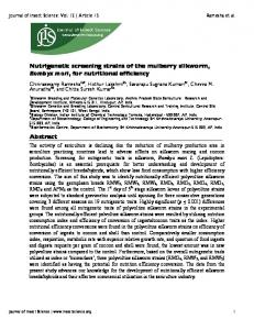 Nutrigenetic screening strains of the mulberry silkworm, Bombyx mori ...