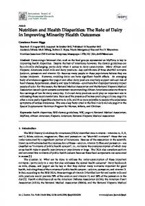 Nutrition and Health Disparities: The Role of Dairy ... - Semantic Scholar