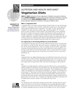 Nutrition and Health Info Sheet: Vegetarian Diets