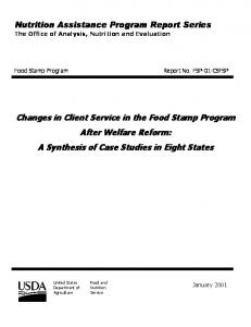 Nutrition Assistance Program Report Series