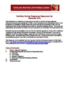 Nutrition During Pregnancy Resource List - Beginnings Guides