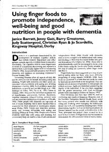 nutrition in people with dementia