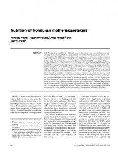 Nutrition of Honduran mothers/caretakers - Semantic Scholar