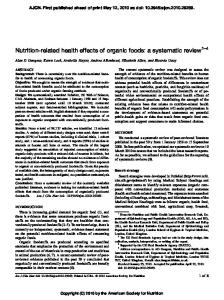 Nutrition-related health effects of organic foods - North American Meat ...
