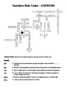 Nutrition Risk Codes Crossword Puzzle ANSWERS