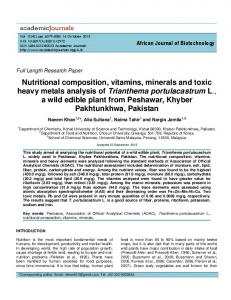 Nutritional Composition, Vitamins, Minerals And Toxic Heavy