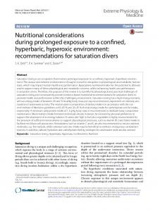 Nutritional considerations during prolonged exposure to a confined ...