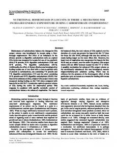 nutritional homeostasis in locusts: is there a ... - Semantic Scholar