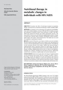 Nutritional therapy in metabolic changes in individuals with HIV/AIDS