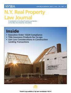NY Real Property Law Journal NY Real Property Law Journal