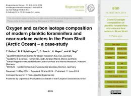 O and C isotope composition of planktic ... - Semantic Scholar