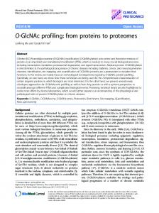 O-GlcNAc profiling: from proteins to proteomes - Clinical Proteomics