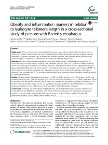 Obesity and inflammation markers in relation to ... - Semantic Scholar
