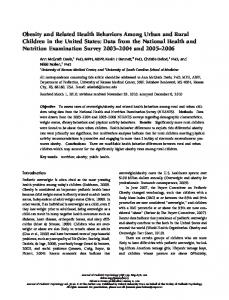 Obesity and Related Health Behaviors Among Urban and Rural ...