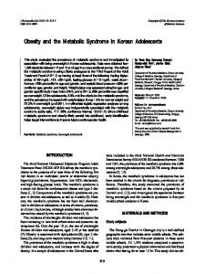 Obesity and the Metabolic Syndrome in Korean