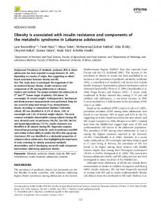 Obesity is associated with insulin resistance and ... - Semantic Scholar