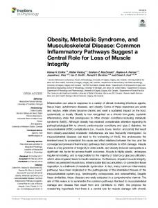 Obesity, Metabolic Syndrome, and Musculoskeletal ...
