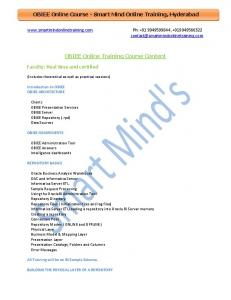 OBIEE Online Training Course Content - Smart Mind Online Training