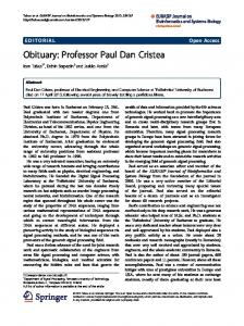 Obituary: Professor Paul Dan Cristea - Springer Link