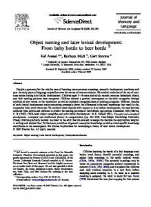 Object naming and later lexical development: From ... - Lehigh University